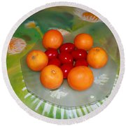 Red Eggs And Oranges Round Beach Towel