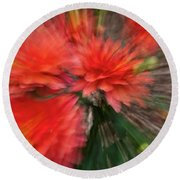 Red Explosion Round Beach Towel
