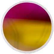 Red Fade To Gold Round Beach Towel