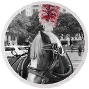 Red Feathers Round Beach Towel