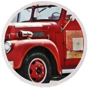 Red Fire Truck Round Beach Towel