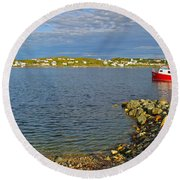 Red Fishing Boat In Twillingate Harbour-nl Round Beach Towel