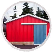 Red Fishing Shack Pei Round Beach Towel by Edward Fielding