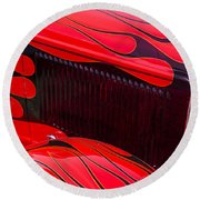 Red Flames Hot Rod Round Beach Towel by Garry Gay