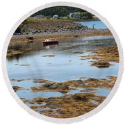 Red Flat At Low Tide Round Beach Towel