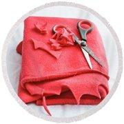 Red Fleece Round Beach Towel