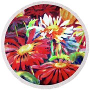Red Floral Mishmash Round Beach Towel