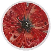 Red Flower 1 - Vibrant Red Floral Art Round Beach Towel by Sharon Cummings
