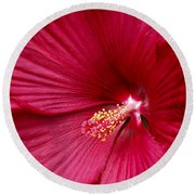 Red Flower 2 Round Beach Towel