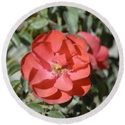 Red Flower II Round Beach Towel