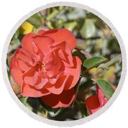 Red Flower IIi Round Beach Towel