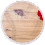 Red Flower On Wood  Round Beach Towel