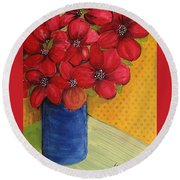 Red Flowers In A Blue Vase Round Beach Towel