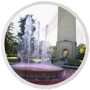 Red Fountain And Hoover Tower Stanford University Round Beach Towel