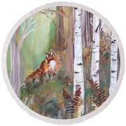 Red Fox And Cardinals Round Beach Towel