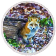 Red Fox At Home Round Beach Towel