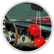 Red Fuzzy Dice In Converible Round Beach Towel