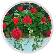 Red Geranium 1 Round Beach Towel