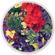 Red Geranium With Yellow And Purple Flowers - Horizontal Round Beach Towel