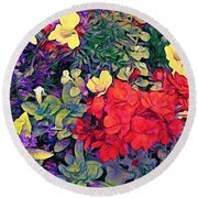 Red Geranium With Yellow And Purple Flowers - Vertical Round Beach Towel