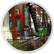 Red Geraniums Verdun Winding Staircases Hanging Flower Basket Montreal Porch Scene Carole Spandau Round Beach Towel