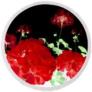 Red Geraniums Round Beach Towel by Will Borden