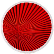 Red Glass Abstract 3 Round Beach Towel