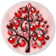 Red Glass Ornaments Round Beach Towel