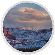 Red Glow In A Sea Of White - Panorama Round Beach Towel