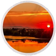 Red Glow Round Beach Towel by Robert Bales