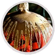 Red Gold Glitter Round Beach Towel