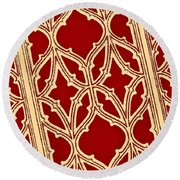 Gothic Pattern On Red Round Beach Towel