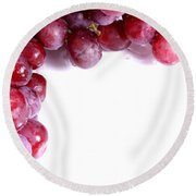 Red Grapes With White Copy Space Round Beach Towel