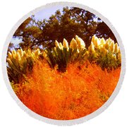 Red Grass Round Beach Towel