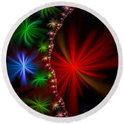 Red Green And Blue Fractal Stars Round Beach Towel