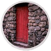 Red Grist Mill Door Round Beach Towel