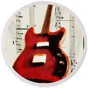 Red Guitar Round Beach Towel by Bill Cannon