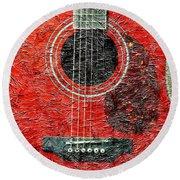 Red Guitar Center - Digital Painting - Music Round Beach Towel