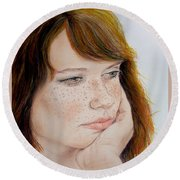 Red Hair And Freckled IIi Round Beach Towel