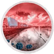 Red Harbouring  Round Beach Towel