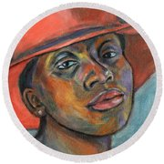 Red Hat Lady Round Beach Towel