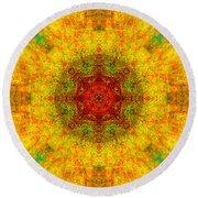 Red Heart Sun Rainbow Mandala Round Beach Towel