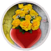 Red Heart Vase With Yellow Roses Round Beach Towel