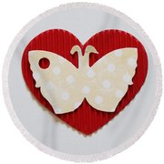 Red Heart With Butterfly Round Beach Towel