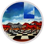 Red Horses With Zebra Round Beach Towel