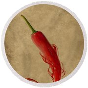 Red Hot Chili Pepper Poster  Round Beach Towel