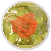 Red Hot Rose Round Beach Towel