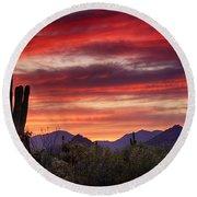 Red Hot Sonoran Sunset Round Beach Towel