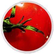 Red Hot Tomato Round Beach Towel by Karen Wiles