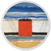 Red House, 1932 Oil On Canvas Round Beach Towel